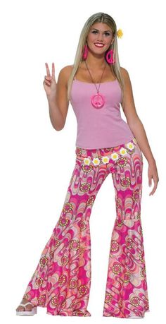Talk about flower power! Traditional bell bottom pants covered in pink swirl-like pattern and peace sign daisies. Adult standard. Inseam is approximately 33 inches. Box Dimensions (in Inches) Length :