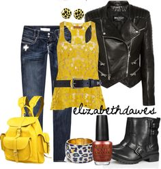 """Yellow & Fierce"" by elizabethdawes ❤ liked on Polyvore"
