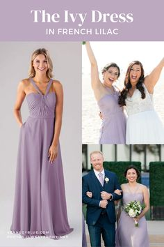 Looking for a unique bridesmaid dress that's still classic and feminine? The Ivy bridesmaid dress is made of a soft chiffon fabric that is perfectly breathable for a full night of dancing. With the unique neckline and ruched bodice, this style makes for a perfect destination bridesmaid dress! The color 'French Lilac' is the perfect shade of light purple to pair with navy blue groomsmen suits and simple greenery bouquets with white roses for a beachfront wedding! Destination Bridesmaid Dresses, Modern Bridesmaid Dresses, Prom Dresses, Wedding Dresses, Blue Groomsmen Suits, Greenery Bouquets, French Lilac, Bodice, Neckline