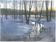 Michal Suffczynski Wieczor na Mazurach,wiosenne roztopy,akwarela 40/60 cm Evening in the spring melts, watercolor 40/60 cm (Translated by Bing)