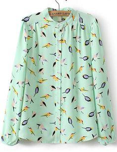 Green Long Sleeve Birds Print Chiffon Blouse
