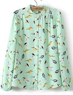 Green Long Sleeve Birds Print Chiffon Blouse