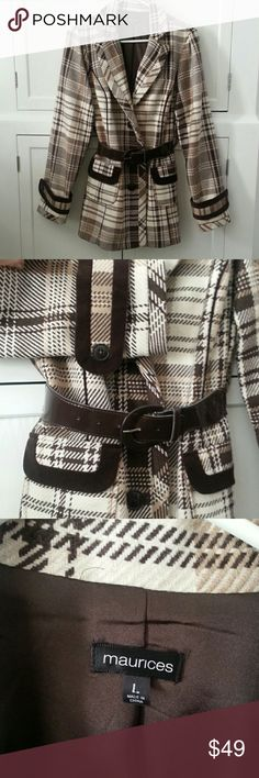 Pea Coat Plaid Brown Poly wool blend with dark brown lining. Beautiful rich velvety brown trim on cuffs & pockets. Dark brown elastic belt. NWOT * NEVER WORN* it needs some use!! Maurices Jackets & Coats Pea Coats