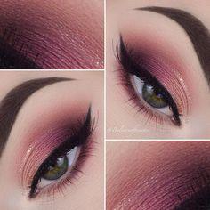 burgundy & peach soft smoke w/ glitter crease liner & black winged liner - ANNA 💁🏼 (@balanceofbeautee) | eyeliner makeup