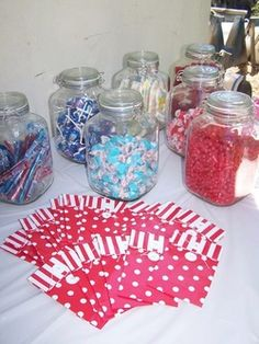 50s housewife shower candy bar -- 5cent candies in jars! #sweettooth