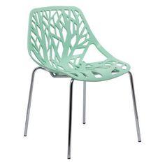 LeisureMod Modern Asbury Dining Chair w/ Chromed Legs in Mint