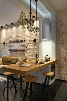 comment choisir un ilot central dans la cuisine avec mur de briques