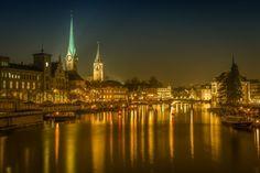 Zurich at night light