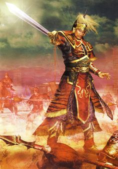 View an image titled 'Sun Jian (Wu) Art' in our Dynasty Warriors 5 art gallery featuring official character designs, concept art, and promo pictures. Fantasy Heroes, Fantasy Warrior, Fantasy Art, Dnd Characters, Fantasy Characters, Conan Rpg, Dynasty Warriors 5, Chinese Armor, Character Art