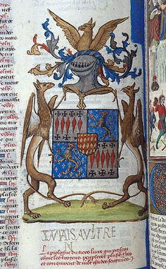 Chronique universelle, MS I, fol. - Images from Medieval and Renaissance Manuscripts Renaissance, Family Shield, Objet D'art, Art Object, Illuminated Manuscript, France, Coat Of Arms, Middle Ages, Book Art