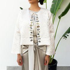 Qabeela SS17  Off White & Matt Silver Jacquard Crop Jacket