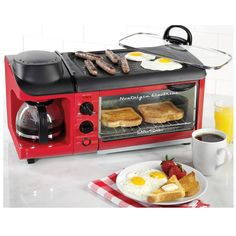 Retro 3 In 1 Breakfast Station Maker Product Description: The retro 3 in 1 breakfast station maker lets you make a complete breakfast with just one appliance! Brew coffee, cook eggs, meat and toast al