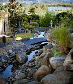 en japansk hage; Stein og vann