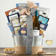 Wine Gift Baskets - Chardonnay Gourmet Gift Basket Wine Gift Baskets, Gourmet Gift Baskets, Gourmet Gifts, Smoked Gouda Cheese, Chardonnay Wine, Wine Gifts, Corporate Gifts, Cravings, Caramel