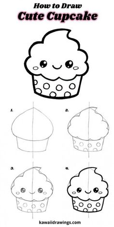How to draw a cute cupcake, easy drawing tutorial, step-by-step, kawaii cupcake – Doodles Easy Drawing Tutorial, Easy Drawing Steps, Drawing Tutorials For Kids, Easy Drawings For Kids, Step By Step Drawing, Drawing For Kids, Drawing Ideas, Drawing Drawing, Sketching For Kids