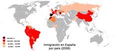 Esto muestra los diferentes países que tienen los inmigrantes ir a España.