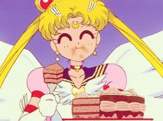 In the name of the Moon – Celebrate Sailor Moon & Mini-Moon's birthdays by checking out our Sailor Moon manga and DVD collections! Pick up some cake (Usagi's fav! Sailor Moon Gif, Sailor Moons, Sailor Moon Crystal, Cristal Sailor Moon, Sailor Moon Cakes, Arte Sailor Moon, Sailor Scouts, Disney Marvel, Chobits Anime