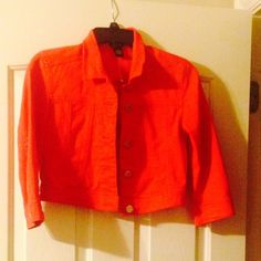 Red denim jacket This jacket is super cute and it looks brand new. Only worn a few times. Rue 21 Tops