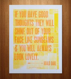 "Roald Dahl ""Good Thoughts"" Letterpress Print 