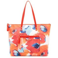 Trina Turk Multi Poppy Poolside Shopper ($148) ❤ liked on Polyvore featuring bags, handbags, tote bags, multi poppy, beach tote bags, beach tote, vinyl zipper pouch, zippered tote and zipper pouch