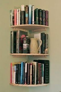 corner wall bookshelves $8.50 each shelf at the Home Depot