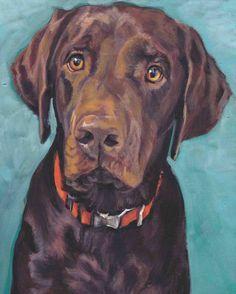 Labrador retriever dog art CANVAS print of LA by TheDogLover