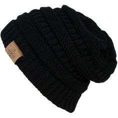 Winter Warm Thick Cable Knit Slouchy Skull Beanie Cap Hat found on Polyvore featuring accessories, hats, slouchy hat, black slouchy beanie, skull hat, black hat and slouch beanie