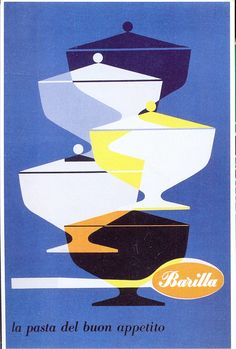 Vintage Barilla Pasta Ads by Erberto Carboni Poster Ads, Advertising Poster, Food Advertising, 1950s Posters, Advertising Design, Retro Illustration, Graphic Design Illustration, Vintage Advertisements, Vintage Ads