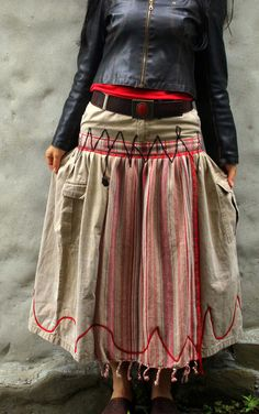 Ethno tribal style long skirt recycled and reused by jamfashion, $84.00