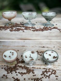 DIY French Vanilla and Coffee Candle: How You Ought to Do It Coffe Vanilla candles. Horrible tutorial but I get the gist. Great idea and I can work out doing this on my own. Diy Candles Scented, Homemade Candles, Homemade Gifts, Diy Gifts, Diy Vanilla Candles, Velas Diy, Coffee Candle, Coffee Latte, Coffee Drinks