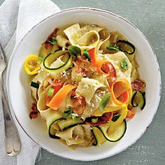 Summer Pasta Recipe: 2 medium-size yellow squash, 2 medium zucchini, 2 medium carrots, 1 small onion, 1 garlic clove, 3/4 cup vegetable broth, 5 tablespoons olive oil, 1 teaspoon salt, 1/2 cup chopped fresh basil, 1 (4-oz.) package prosciutto,  2 (8.8-oz.) packages pappardelle pasta, 1 tablespoon butter, 3 green onions,  8-oz. mascarpone cheese, 3/4 cup Parmesan cheese