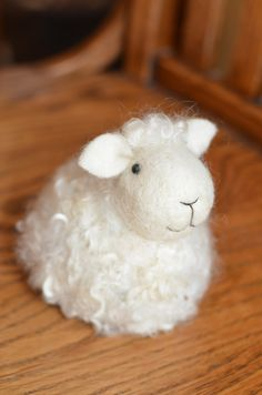 Lamb White wool needle felted Sheep needle by BearCreekDesign