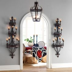 From Wisteria, great wall sconces...sort of midevil.