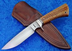 52100 Hunter with Fluted Nickel Silver guard and Tru-Oil finished Koa handle