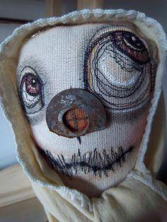 Altered art doll handmade primitive folk art by SweetMeadowDesigns, Creepy Toys, Scary Dolls, Ugly Dolls, Gothic Dolls, Monster Dolls, Voodoo Dolls, Primitive Folk Art, Little Doll, Soft Dolls