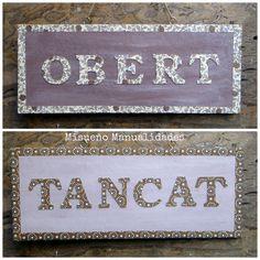 Cartel reversible por encargo para una bombonería de Barcelona, hecho con papel Varese (a la venta en Tinta Gris, c/ Amigó 49 en Barcelona).  www.misuenyo.com / www.misuenyo.es