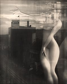 Yuuishi Kobayashi - Jojoshi Metropolis (Lyrical Poetry of the Metropolis), an avant-guard study of the human form: marble torso superimposed on the Kyoto skyline, 1949 Multiple Exposure, Double Exposure, Fine Art Photography, Street Photography, Josef Sudek, Poses Photo, Photo D Art, Man Ray, Famous Photographers
