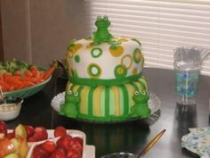 Bake Sale Frog cake ideas - I like the circles and color scheme of this one...this one's a little sloppy though, ha ha. ;) by mandy