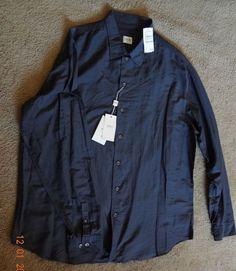Armani Collezioni Solid Gray 2XL Long Sleeve 62%Cotton/38%Silk Button-Front NWT  #ArmaniCollezioni #ButtonFront