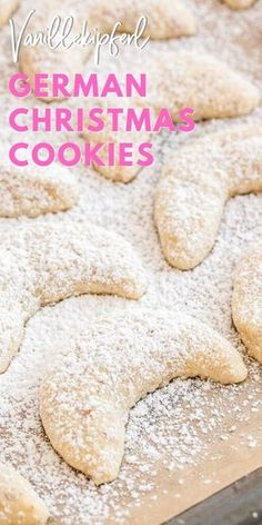 Christmas Almond Crescent Cookies (Vanillekipferl) are traditional German Christmas Cookies made with ground nuts and dusted with vanilla sugar! They are so tender, sweet, and melt in your mouth. A perfect cookie to add to your Christmas baking list! German Christmas Cookies, German Cookies, Christmas Sweets, Christmas Cooking, Holiday Cookies, Christmas Christmas, Christmas Foods, Christmas Baking Ideas Cookies, Traditional Christmas Cookies