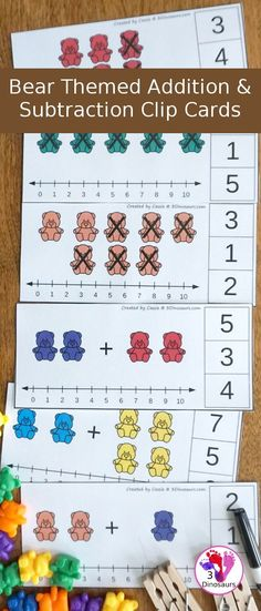 Free Bear Addition and Subtraction Clip Cards - 10 cards for each type of math Subtraction Kindergarten, Subtraction Activities, Kindergarten Math Activities, Homeschool Math, Preschool Classroom, Preschool Learning, Therapy Activities, Learning Activities, Homeschooling