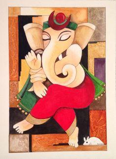 Colourful dancing Ganesh Ganesha Sketch, Ganesha Drawing, Lord Ganesha Paintings, Ganesha Art, Krishna Painting, Krishna Art, Jai Ganesh, Kerala Mural Painting, Indian Art Paintings