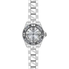 Invicta Pro Diver Silver Dial Stainless Steel Ladies Watch ($149) ❤ liked on Polyvore featuring jewelry, watches, analog watches, stainless steel wrist watch, invicta jewelry, crown jewelry and invicta watches