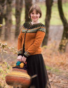 Hillesvåg, SUZANNA - kofte med rundfelling i Ask wat een mooie Fair Isle Knitting Patterns, Knitting Designs, Knit Patterns, Cardigan Design, Knit Cardigan Pattern, Crochet Woman, Knit Crochet, Icelandic Sweaters, Orange Sweaters