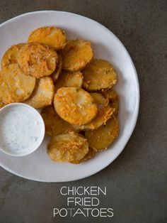 Chicken Fried Potatoes by Spoon Fork Bacon. The goodness of delicious, crispy fried chicken, but vegetarian friendly! These Chicken Fried Potatoes are the perfect game day snack!