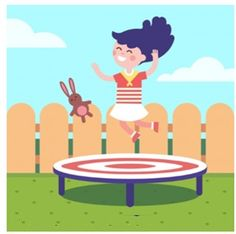 Girl jumping on a trampoline at the back. Trampoline Reviews, Kids Trampoline, Cooler Reviews, Vector Photo, Things That Bounce, Vector Free, Badge, Trampolines, Backyard