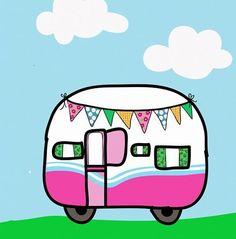 Cute cartoon caravan