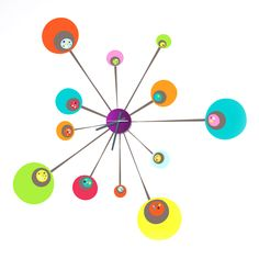 Colorful atom-wall decal working clock.