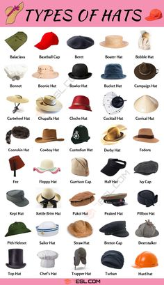 Types Of Hats: A Visual Guide to 55 Different Hat Styles for Men and Women Different Hat Styles, Peach Basket, Pith Helmet, 1920s Looks, Pork Pie Hat, Types Of Hats, Trilby Hat, Classic Hats, Trapper Hats