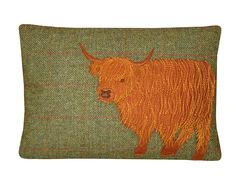 Hey, I found this really awesome Etsy listing at http://www.etsy.com/listing/160186601/green-harris-tweed-highland-cow-cushion